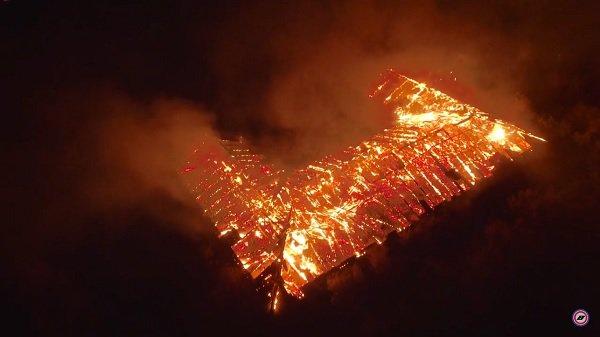 Пожар навоинской части вВолгограде попал вобъектив квадрокоптера