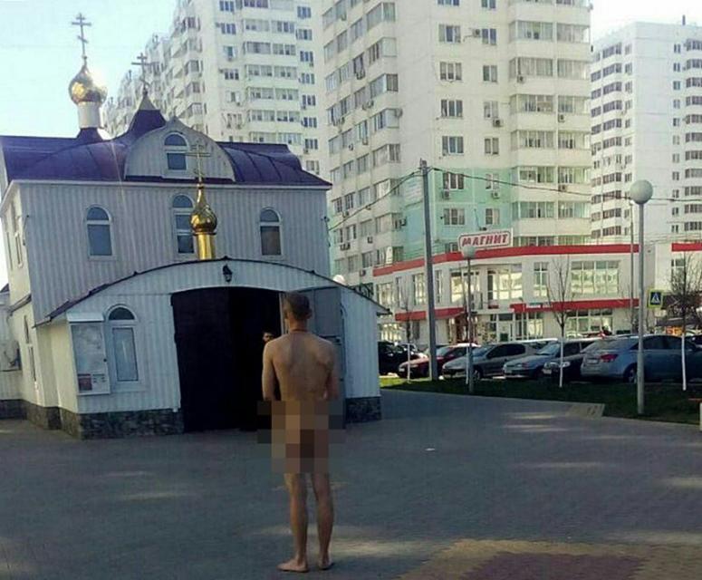 ВКраснодаре наулице задержали обнаженного мужчину